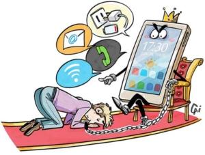 Dessin d'un homme asservi par la technologie, prostrée devant son iphone et toutes les apps